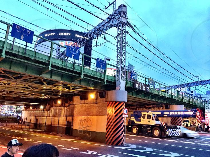 Subway tracks over the city of Tokyo photo