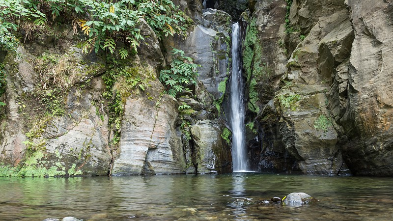 Waterfall Salto of Cabrito island are miguel azores portugal photo