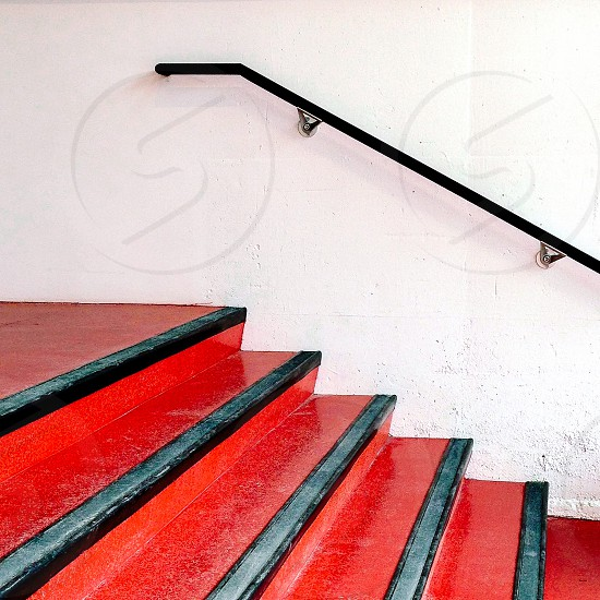 Stairs red bannister  photo