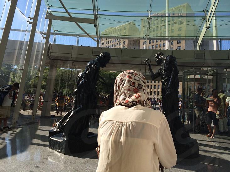 Art museum woman reflection sunlight statue light  photo