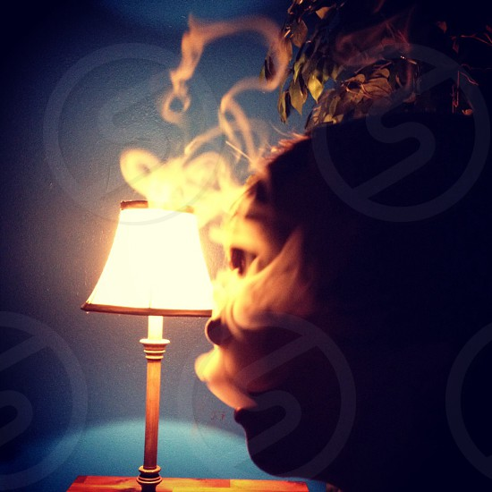 Smoke. Hookah. Light. Dark. Silhouette.  photo