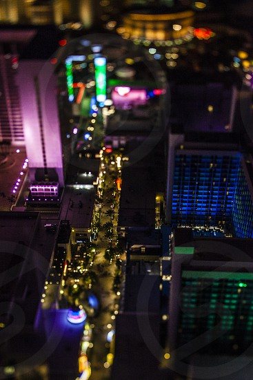 Las Vegas tilt shift lens dusk lights city sin city miniature  photo