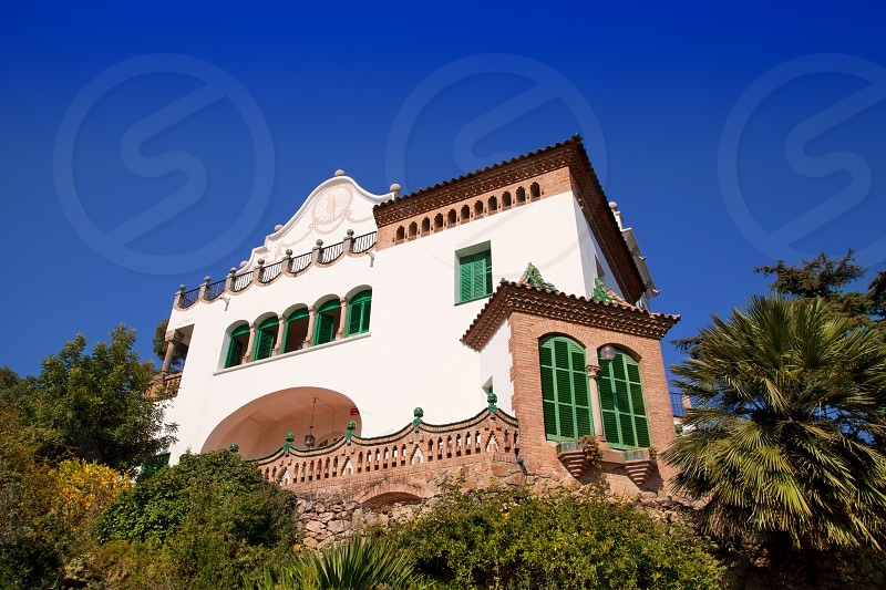 Barcelona Park third resident of family Guell under blue sky photo