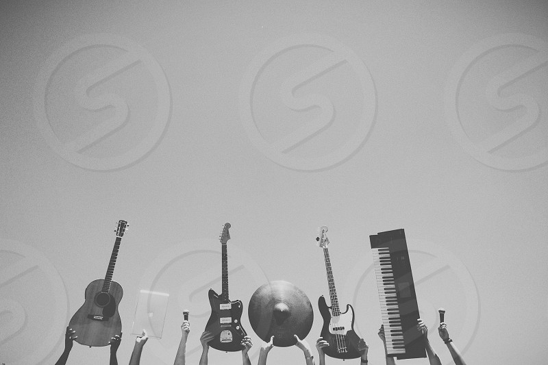black electric guitars and electric piano photo photo