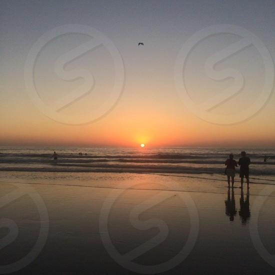 La Jolla Beach CA at sunset.  photo