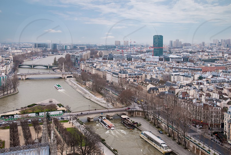 Paris aerial view and the Seine river France photo
