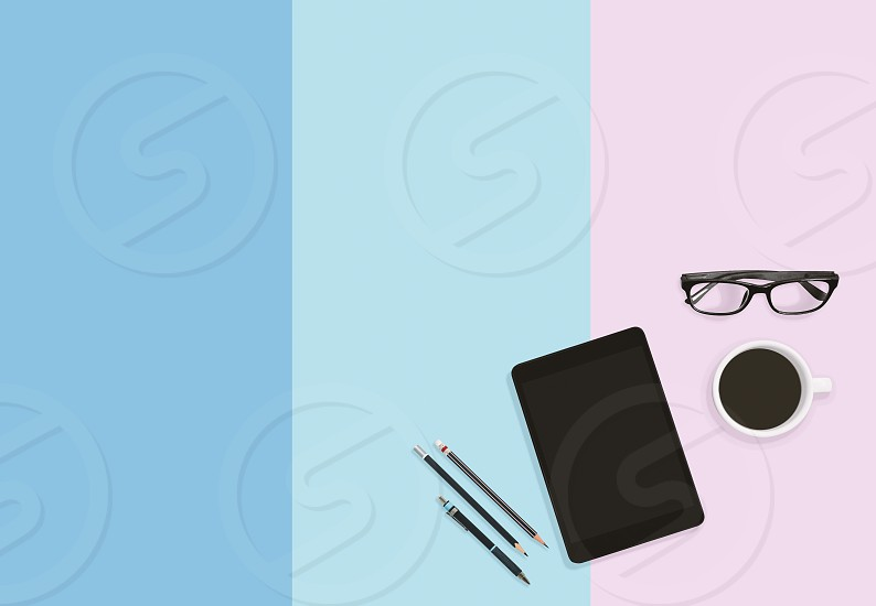 Coffee time concept Modern lifestyle of business person on office workplace table with tablet eyeglasses coffee and pencils with copy space. photo