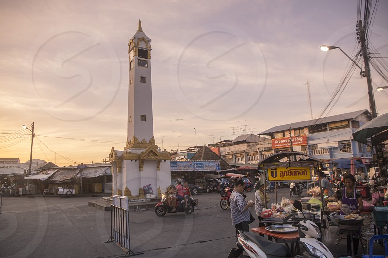the clock tower at the  Market in the city of Surin in Isan in Northeast Thailand.  Thailand Isan Surin November 2017 photo