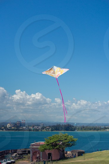flying brown kite with purple tail photo