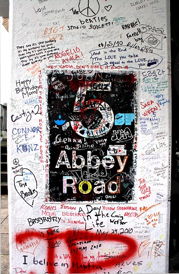 Beatles Abbey Road London England Sign photo