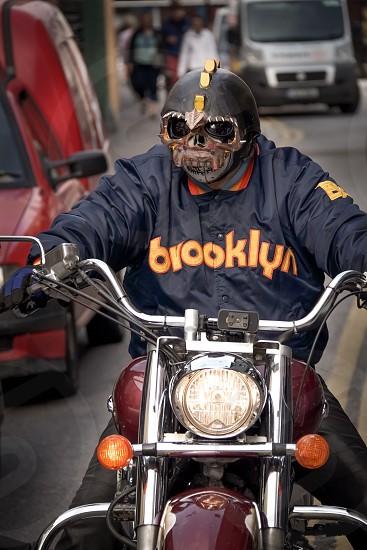 Biker bike motorcycle ireland Killarney face mask city street photo