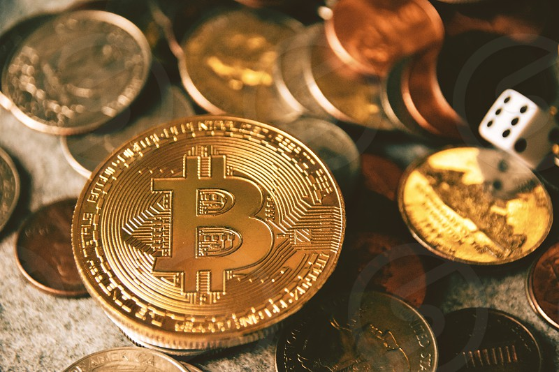Bitcoin currency money cash investment risk mining crypto currency market market global new Usa dollar coin change  photo