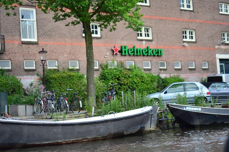 Heineken brewery taken From the Amsterdam canal photo