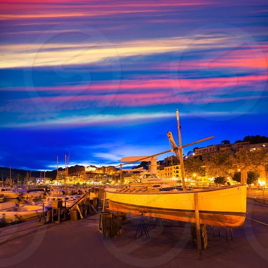 Port de Soller sunset in Majorca at Balearic island of Mallorca Spain photo