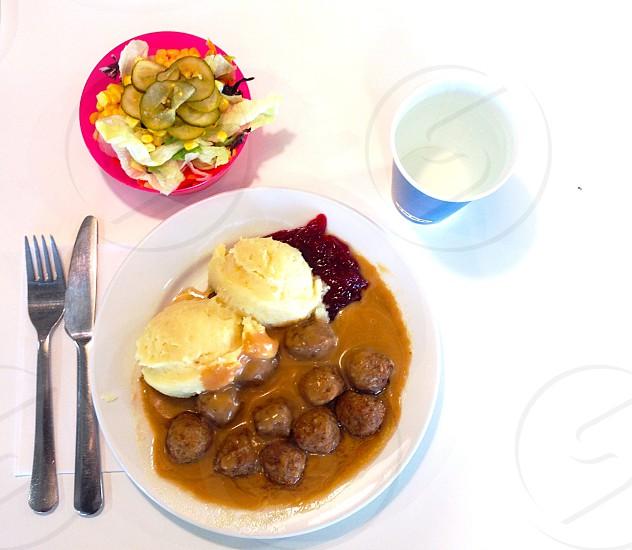 Swedish meatballs and smashed potatoes at IKEA Sweden Uppsala photo