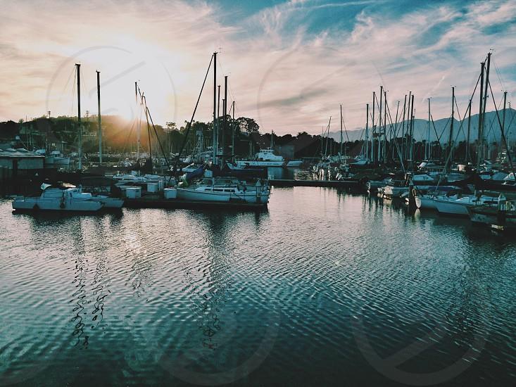 Santa Barbara Harbor California Water Boats Sailing Sunset photo