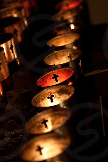 Candles in Loretto Chapel in Sante Fe New Mexico photo