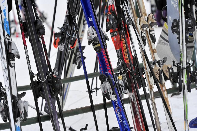 Snow skis at the slopes photo