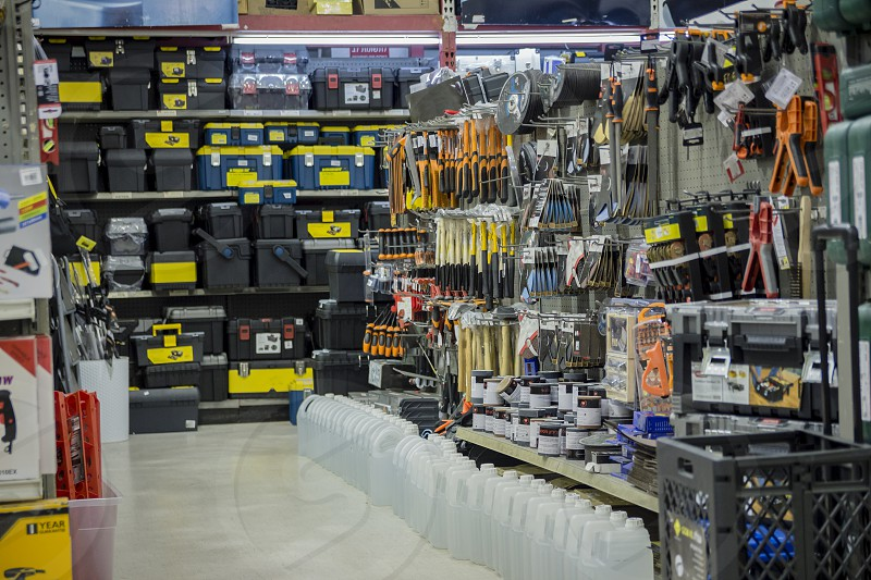 Showcase of tools in hardware store. photo