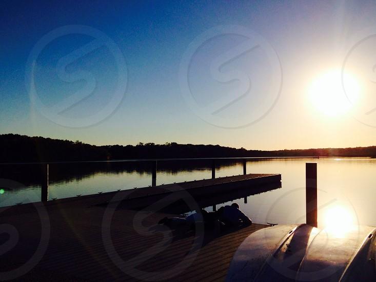 Evening sun at the lake photo