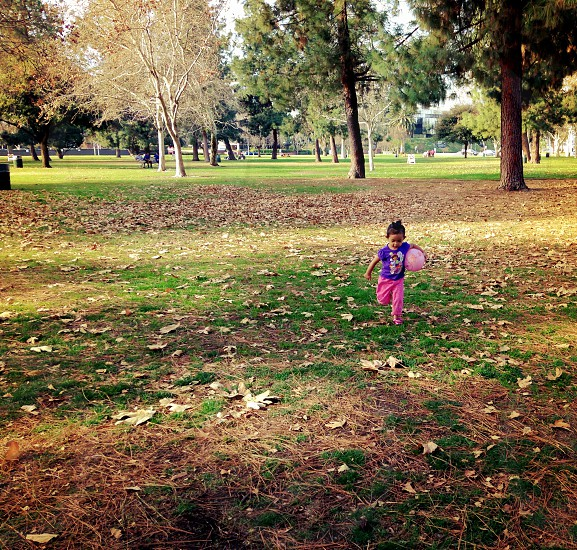 parkCaliforniarunningfallseasongirlkidplaying ballballleavesgreengrasstreesnature photo