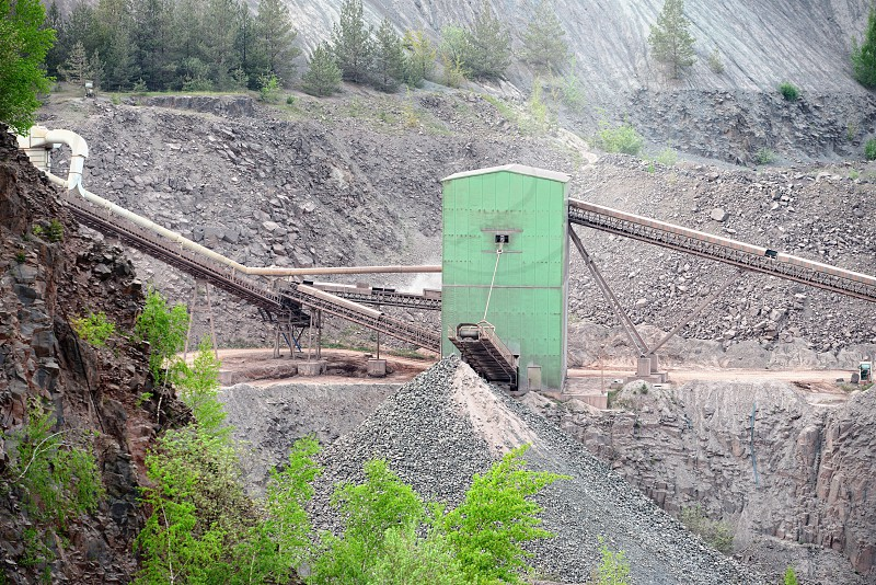 stone crusher in surface mine. hdr image. photo