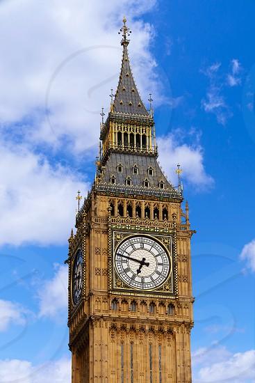 Big Ben Clock Tower closeup in London England photo