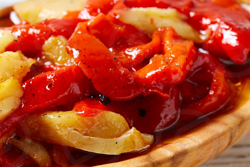 red pepper and cod fish esgarraet tapas from Spain photo