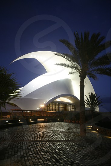 The Auditorio and Theater of the City of Santa Cruz on the Island of Tenerife on the Islands of Canary Islands of Spain in the Atlantic.   photo