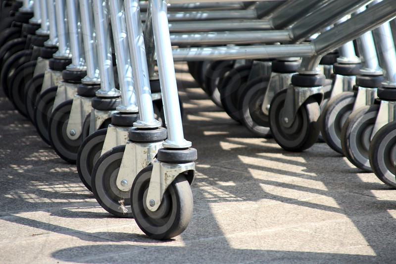 Rubber wheels from carts for a supermarket Phnom Penh Cambodia photo