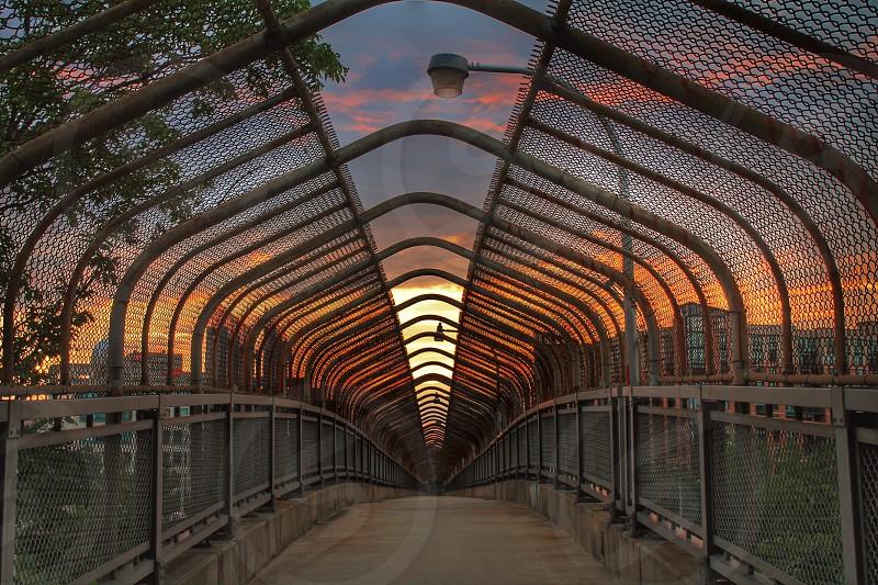 Pedestrian bridge in Arlington Va. at sunset.  photo