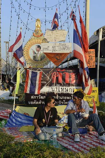 Thai anti-government protesters  during a rally at the
