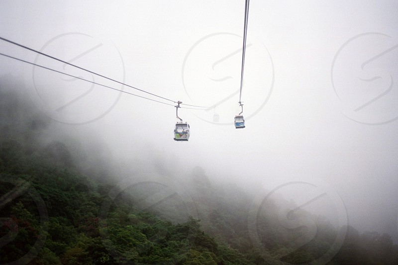 two cable cars traveling above forest during a misty day photo