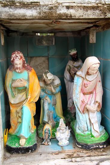 Caribbean catholic cemetery with angel saints figures in Mexico photo