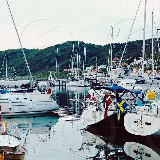 Boating lifestyle  boats harbor summer Scandinavia  photo