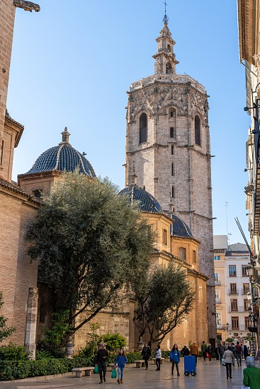 VALENCIA SPAIN - FEBRUARY 25 : El Micalet Tower of the Cathedral in Valencia Spain on February 25 2019. Unidentified people photo