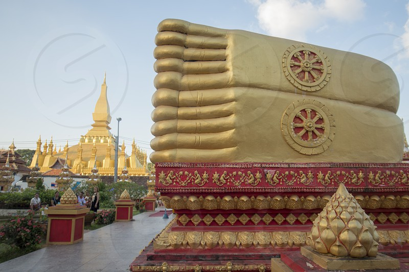 THE THAT LUANG IN VIENTIANE IN LAO photo