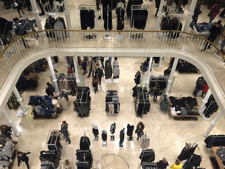 people in a clothes mall in Rome photo