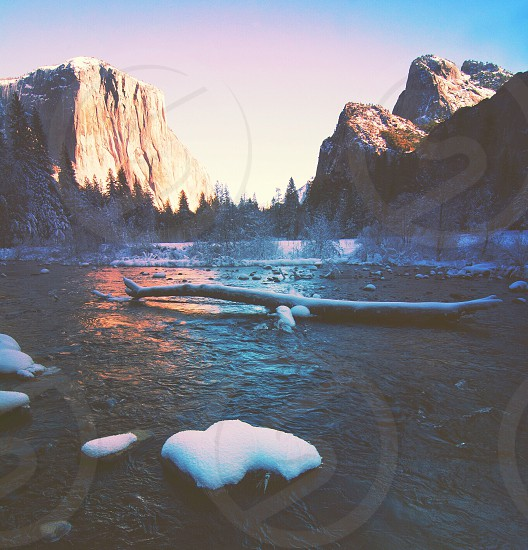 brown log floating on water with snow beside brown cliffs photo