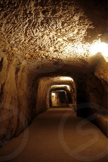 The Tunnels under the Piazza del Domo in the old Town of Siracusa in Sicily in south Italy in Europe. photo