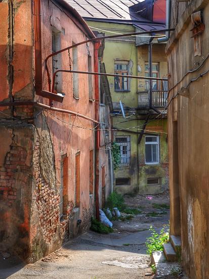 colorful stucco houses photo