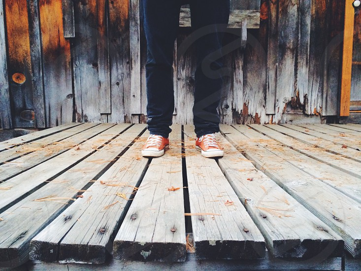 person standing on wooden platform photo
