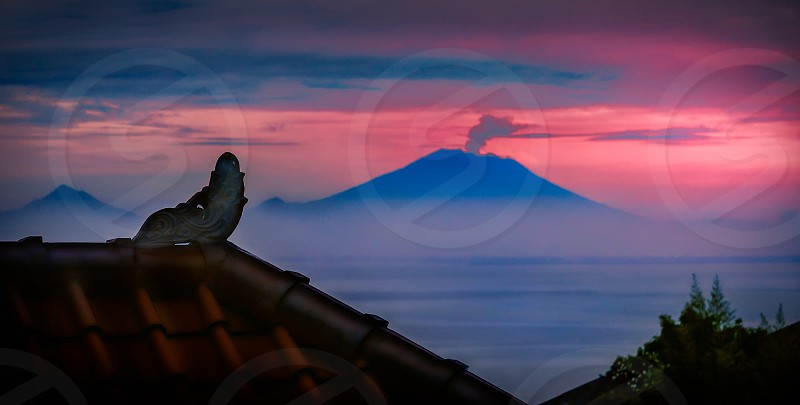 Volcano. Mount. Agung. Ultra violet. Bali. Indonesia. Eruption. photo