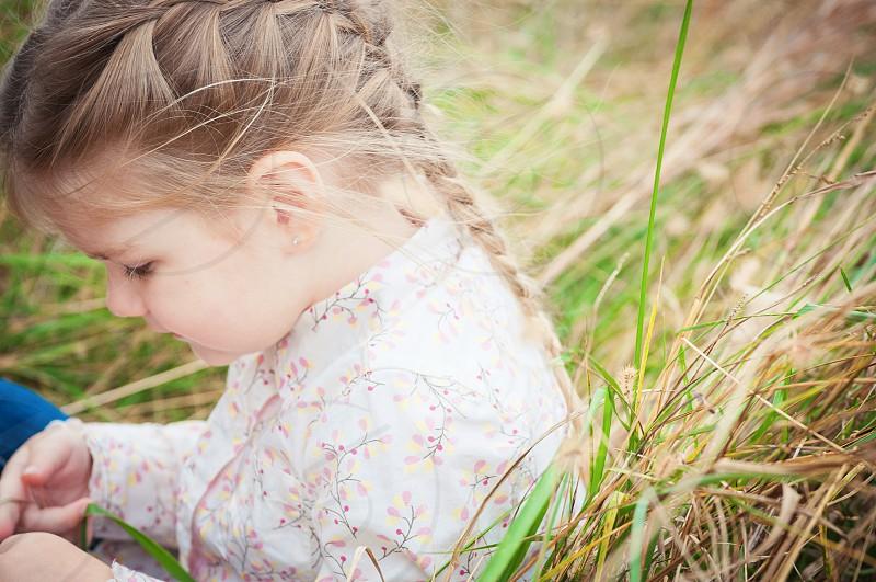 close up explore grass braid girl childhood photo