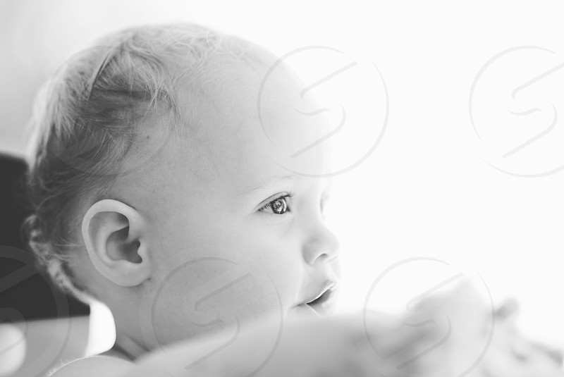 black and white baby one year old portrait child children love son brother. photo