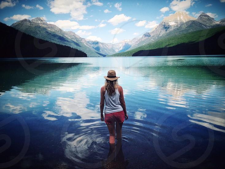 Travel glacier national park lake peaceful explore beauty montana discover photo