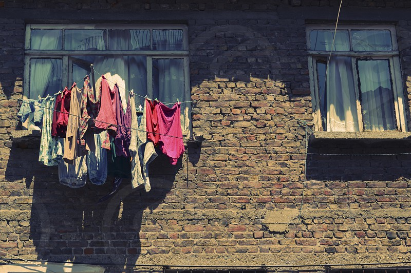 Laundry out of window Istanbul photo