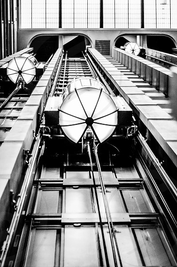 Looking up at the elevators in the downtown Nashville TN Sheraton Hotel.  I absolutely love this abstract geometric photo especially in black and white. photo