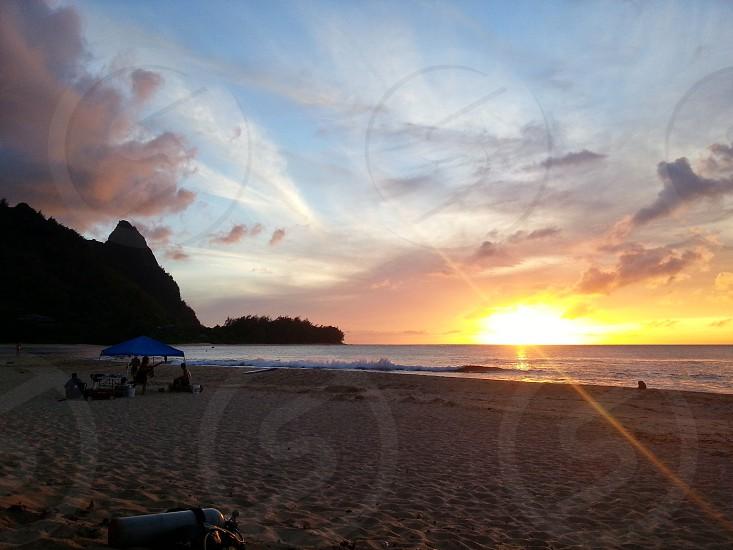 Tropical Beach Sunset Mountain photo