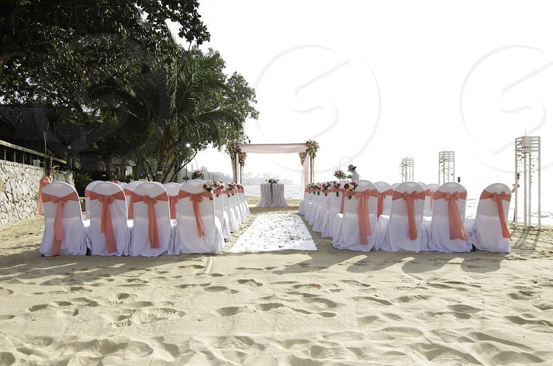 wedding reception on beach photo